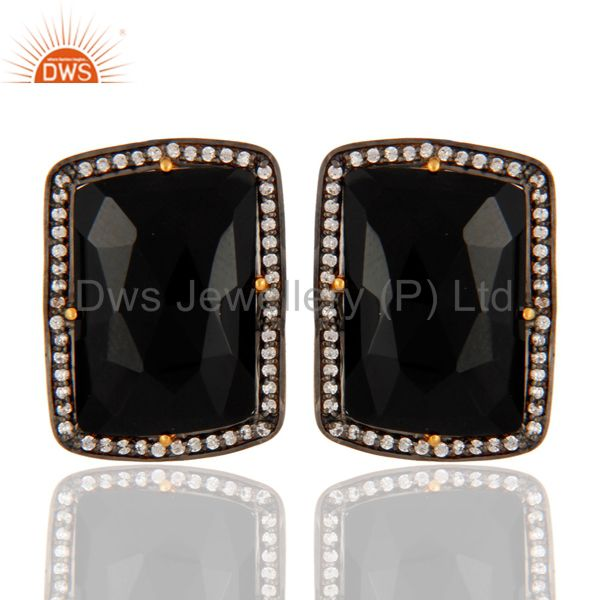 Gold Plated Sterling Silver Faceted Black Onyx with Cubic Zirconia Stud Earrings