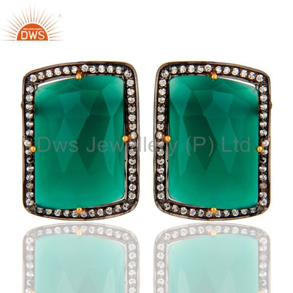 Gold Plated Sterling Silver Fancy Shape Green Onyx Prong Set Stud Earrings