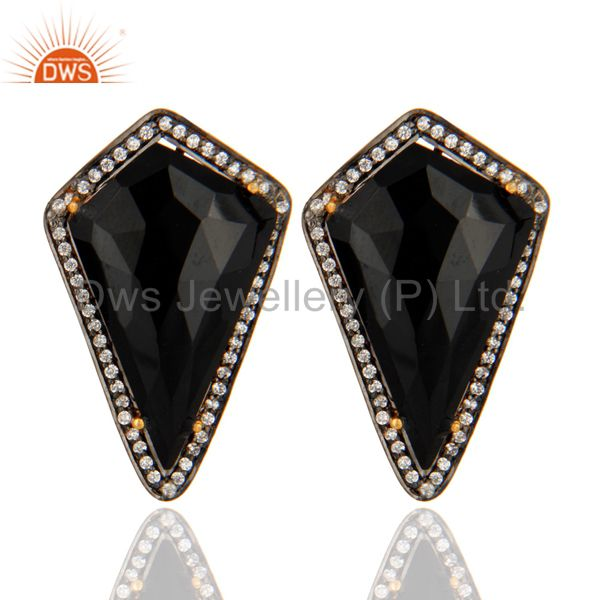 Gold Plated Sterling Silver Prong Set Black Onyx Gemstone Stud Earrings With CZ