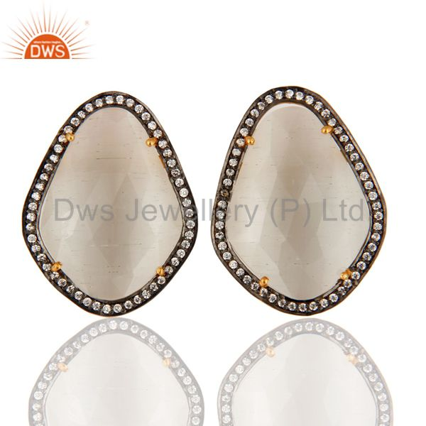 Gold Plated Sterling Silver White Moonstone Fancy Shape Gemstone Stud Earrings