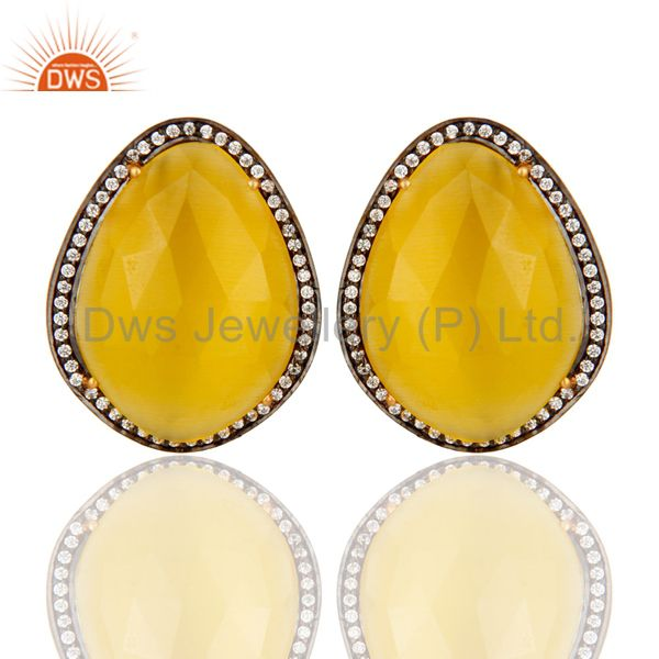 Moonstone Yellow Gemstone Large Stud Earrings With CZ Made in 24k Gold On Silver