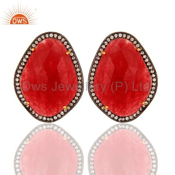 Gold Plated Sterling Silver Stud Earrings With Red Aventurine Gemstone And CZ