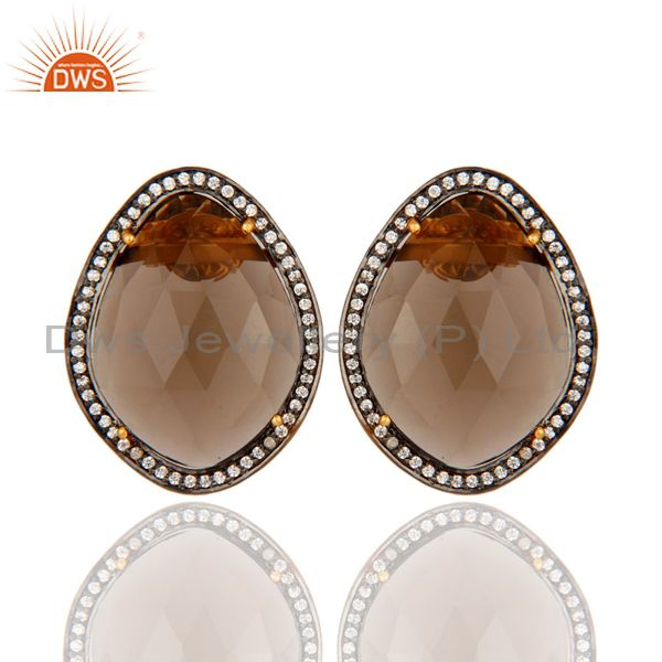Gold Plated Sterling Silver SMoky Quartz Gemstone Stud Fashion Earrings With CZ