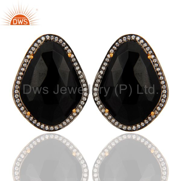 Gold Plated Sterling Silver Faceted Black Onyx Fashion Elegant Earrings With CZ