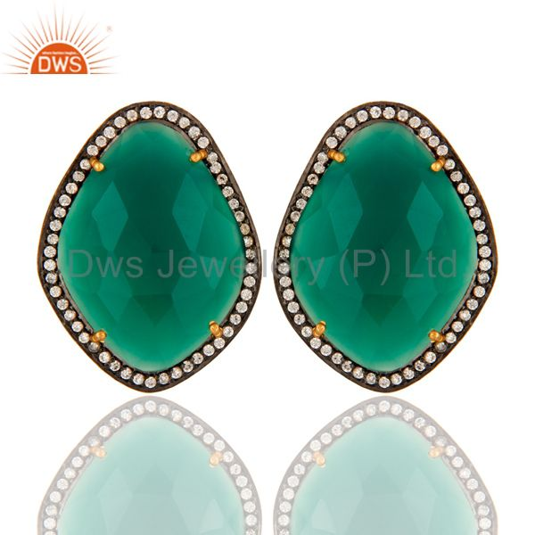 Green Onyx And Cubic Zirconia Stud Earrings In 18K Gold Over Sterling Silver