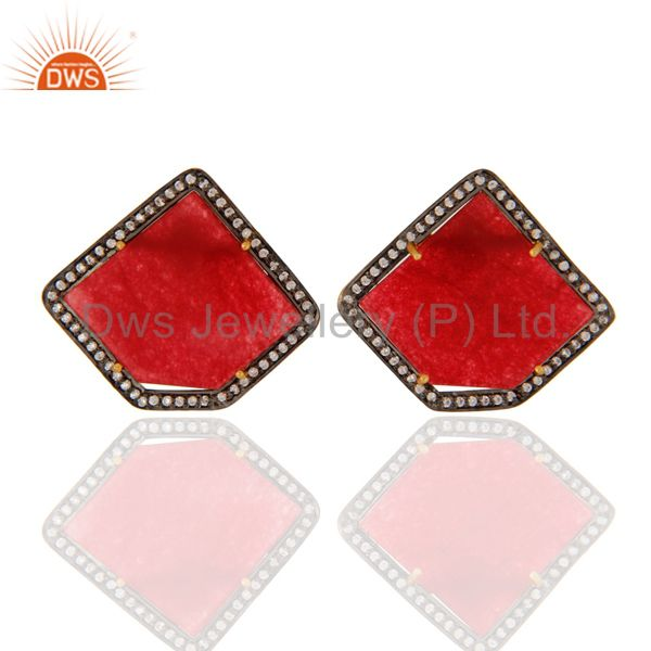 18K Gold Plated Sterling Silver Red Aventurine Semi-Precious Stone Stud Earring