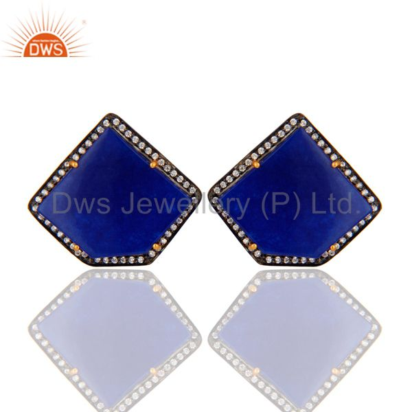 Yellow Gold Plated Sterling Silver CZ And Blue Aventurine Gemstone Stud Earrings