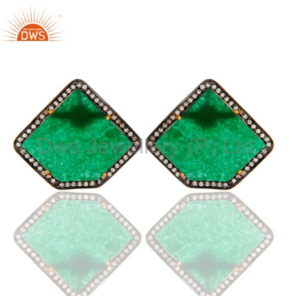 CZ & Slice Cut Green Aventurine Gemstone Stud Earrings In 18K Gold On Silver