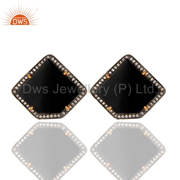 Polished Fancy Shape Black Onyx & CZ Stud Earring In Gold Plated Sterling Silver