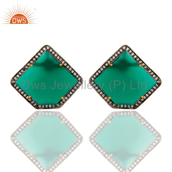 Gold Plated Sterling Silver Green Onyx Gemstone Stud Earrings With CZ Surround