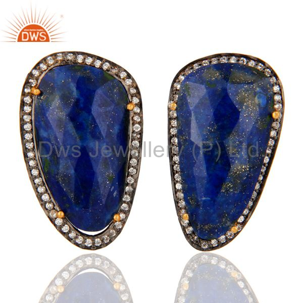 Natural Lapis Lazuli & Cubic Zirconia Gold Plated Silver Setting Stud Earrings