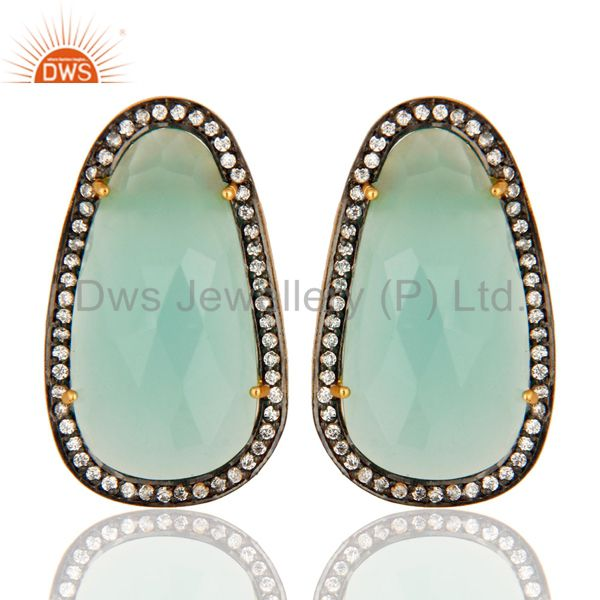 CZ And Aqua Glass Chalcedony Women Studs Earrings In 14K Gold Over 925 Silver