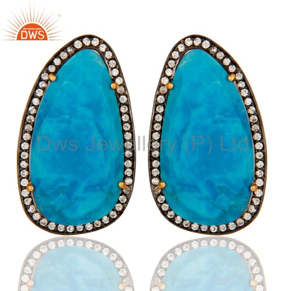 Matrix Turquoise Gemstone Gold-Plated Sterling Silver Stud Earrings With CZ