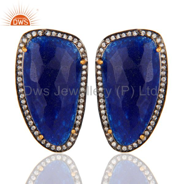 Handcrafted Solid Silver Blue Aventurine Faceted Gemstone Stud Earrings With CZ