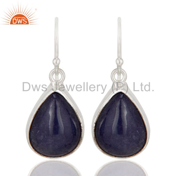 Indian Handcrafted Solid Sterling Silver Earrings With Natural Tanzanite Stone