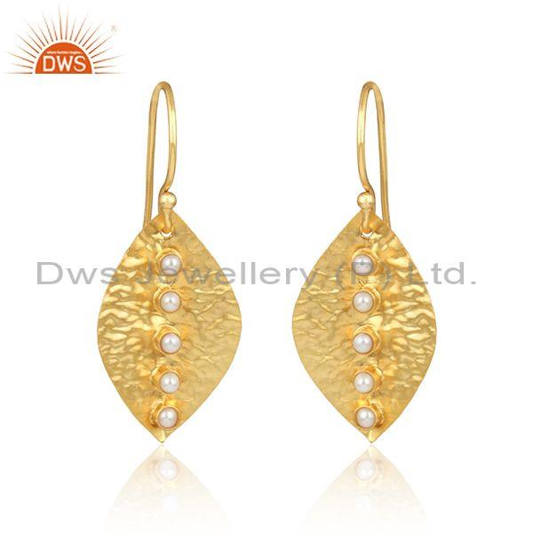 Textured Handmade Leaf Design Gold on Fashion Pearl Dangle