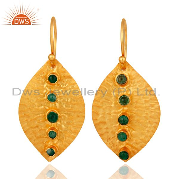 Natural Emerald Dangle 14K Yellow Gold Plated 925 Sterling Silver Earrings