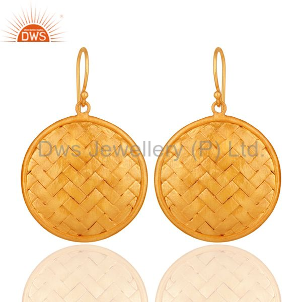 22K Yellow Gold Plated Sterling Silver Woven Designer Disc Dangle Earrings
