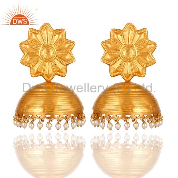 Stunning Gold Plated 925 Sterling Silver Pearl Jhumka Designer Ethnic Earrings