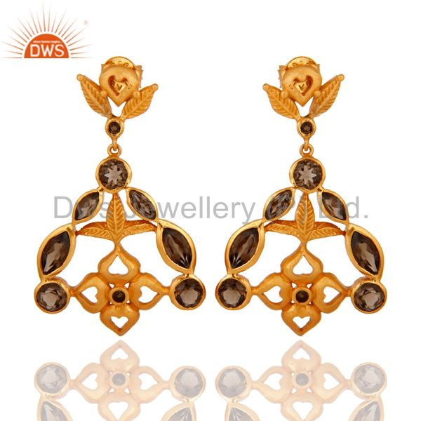 18-Karat Yellow Gold-Plated 925 Sterling Silver Smoky Quartz Designer Earrings