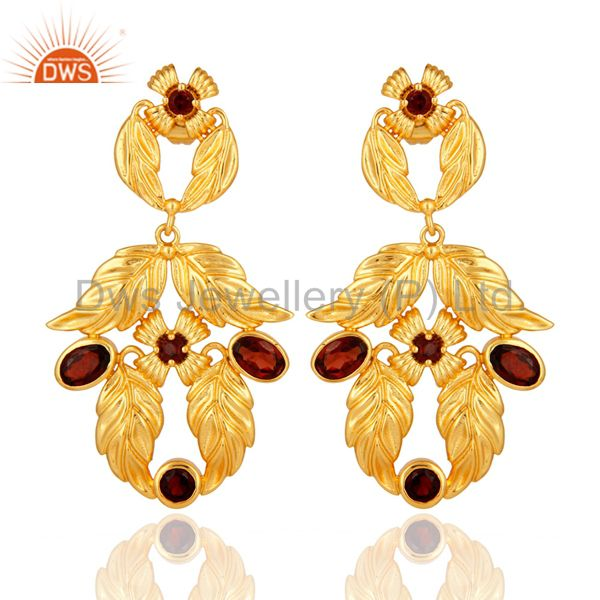 Natural Garnet Gemstone Handmade Earrings With 14K Yellow Gold Plated Jewelry