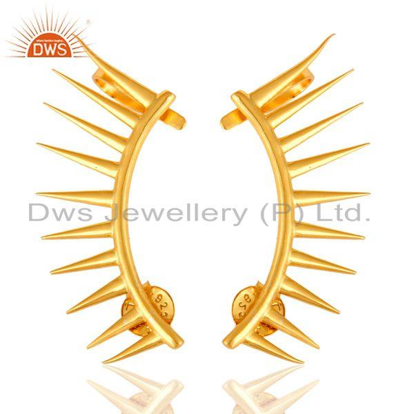 Shiny 18K Yellow Gold Plated Sterling Silver Spike Designer Ear Cuff Earrings