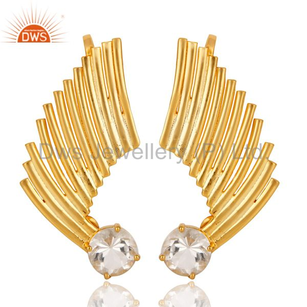 22K Gold Plated 925 Sterling Silver Art Deco Crystal Quartz Ear Cuff Jewellery