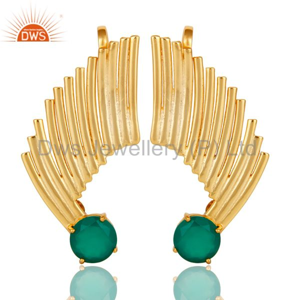 14K Gold Plated Sterling Silver Green Onyx Ladies Fashion Ear Cuff Earrings