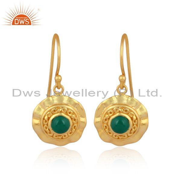 Green onyx set gold on silver handmade traditional earrings