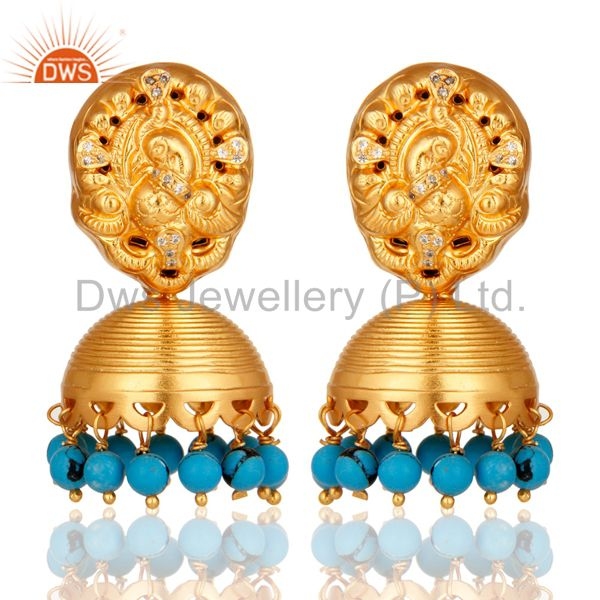 Turquoise 14K Yellow Gold Plated Sterling Silver Jhumka Earrings With CZ