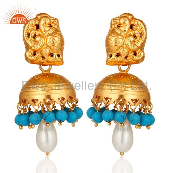 Gold Plated Sterling Silver Peacock Design Jhumka Earring With Pearl & Turquoise