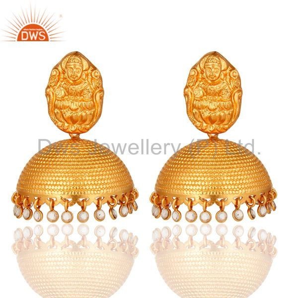 Gold Plated Sterling Silver CZ Divine Ethnic Traditional Jhumkas Earrings