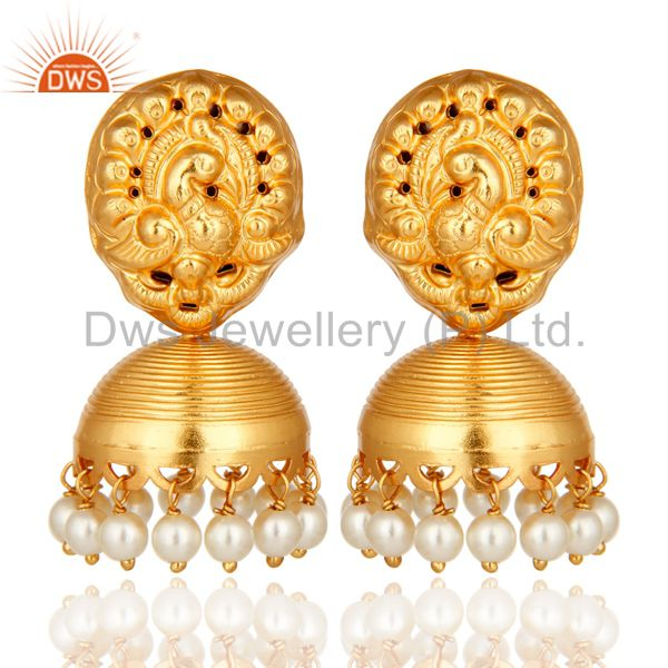 14K Yellow Gold Plated Sterling Silver Pearl Earrings With Laxmi Design