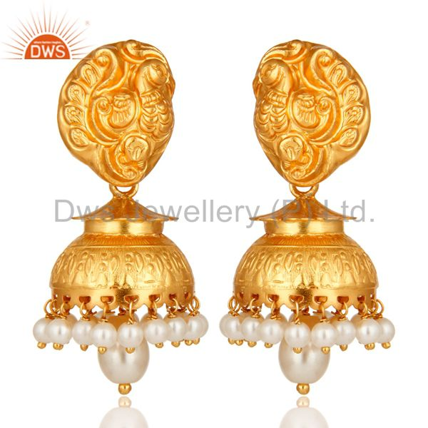 14K Gold Plated Sterling Silver Pearl Traditional Jhumka Earrings