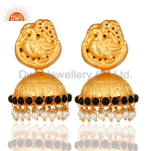 Indian Handcrafted 925 Silver Gold Plated Traditional Earrings Jewelry