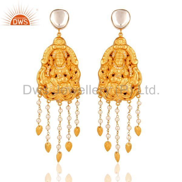 22K Gold On Sterling Silver Traditional Lakshmi Temple Earrings with Pearl & CZ