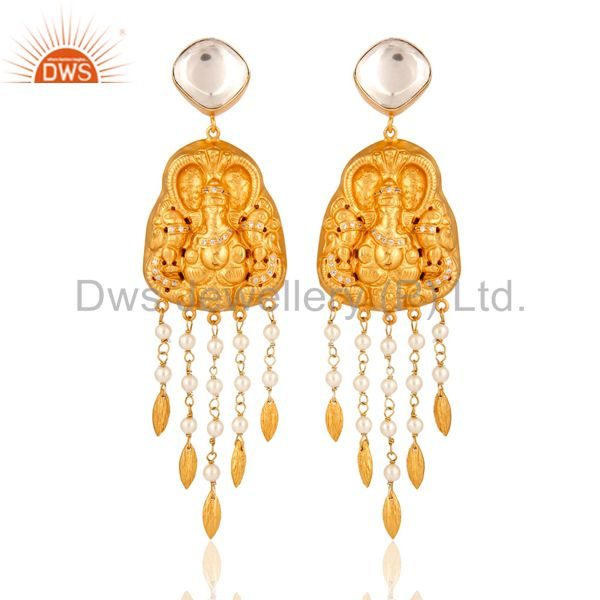 Pearl 18K Yellow Gold Plated Sterling Silver Hand-Carved Ganesh Dangle Earrings