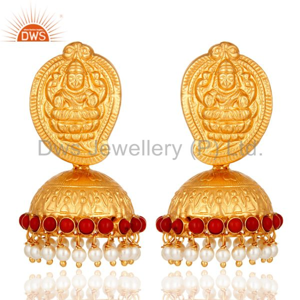Gold Plated Sterling Silver Lakshmi Beautiful Ethnic Jhumkas Earrings With Pearl