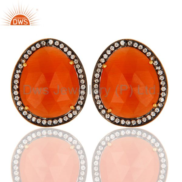 Handmade Peach Moonstone Stud Earrings With CZ In Gold Plated On Sterling Silver