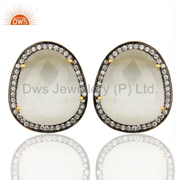 14K Gold Plated 925 Sterling Silver Moonstone White Zircon Stud Earrigs Jewelry