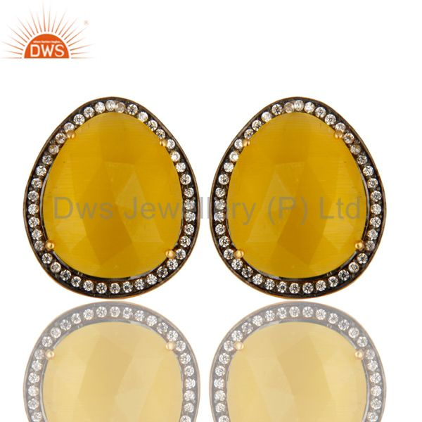 Yellow Moonstone And CZ Sterling Silver Stud Earrings With 18K Gold Plated