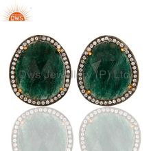 Gold Plated 925 Sterling Silver Green Aventurine Gemstone Stud Earrings With CZ