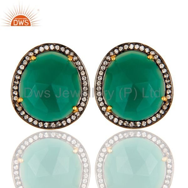 Faceted Green Onyx Gemstone Sterling Silver Ladies Stud Earrings - Gold Plated