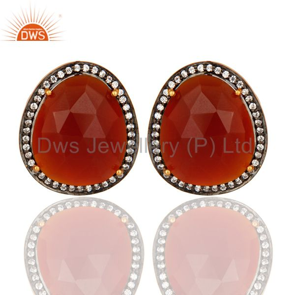 Faceted Red Onyx Gemstone And CZ Stud Earrings In 14K Gold On Silver