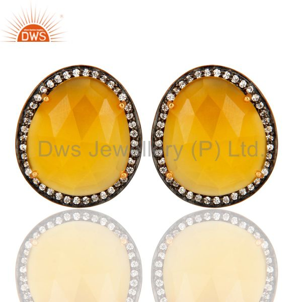 Gold Plated Sterling SIlver Fashion Stud Earrings With Yellow Moonstone And CZ