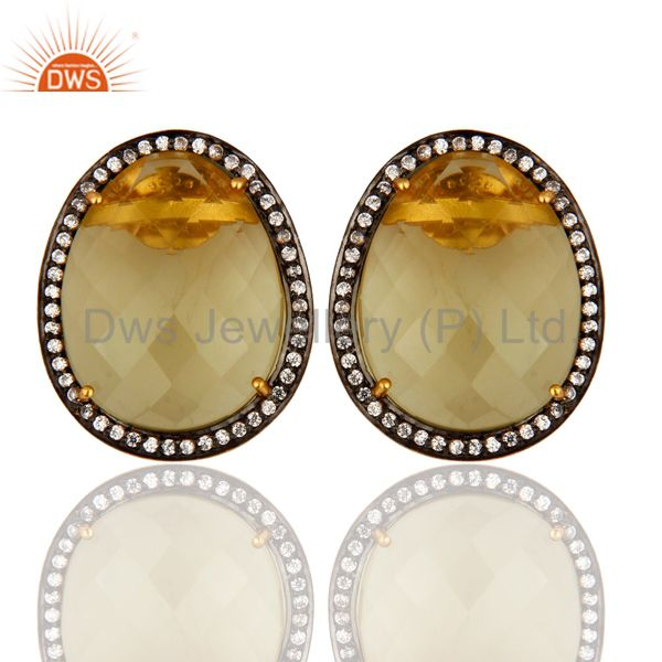 925 Sterling Silver Solitaire Lemon Topaz Stud Earrings With CZ - Gold Plated