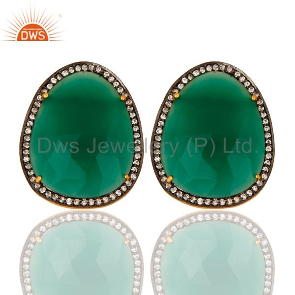Faceted Green Onyx Gemstone Stud Earrings With CZ in 18K Gold On Sterling Silver