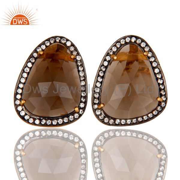 18K Gold Plated Smokey Quartz and White CZ Sterling Silver Stud Earring