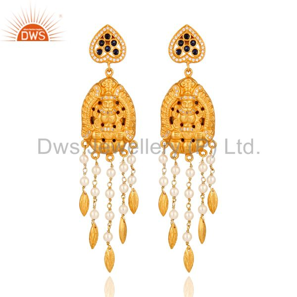 Handmade Sterling Silver Gold Plated Temple Jhumka Earring With Sapphire & Pearl