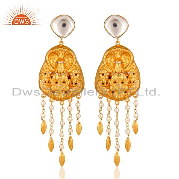 Yellow Gold Plated Silver Pearl And Crystal Polki South Indian Temple Earrings